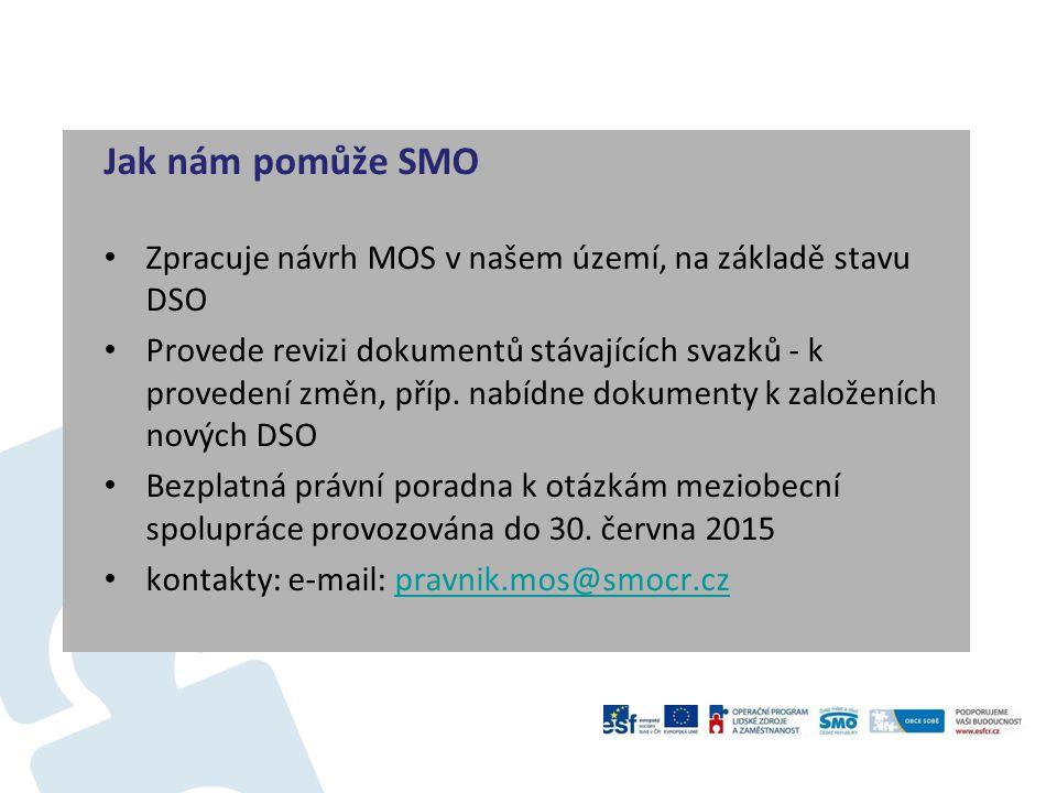 Jak nám pomůže SMO Zpracuje návrh MOS v našem území, na základě stavu DSO Provede revizi dokumentů stávajících svazků - k provedení změn, příp. nabídn