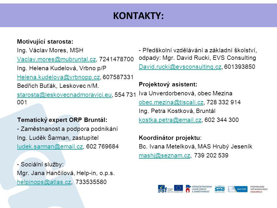 KONTAKTY: Motivující starosta: Ing. Václav Mores, MSH Vaclav.mores@mubruntal.czVaclav.mores@mubruntal.cz, 7241478700 Ing. Helena Kudelová, Vrbno p/P H