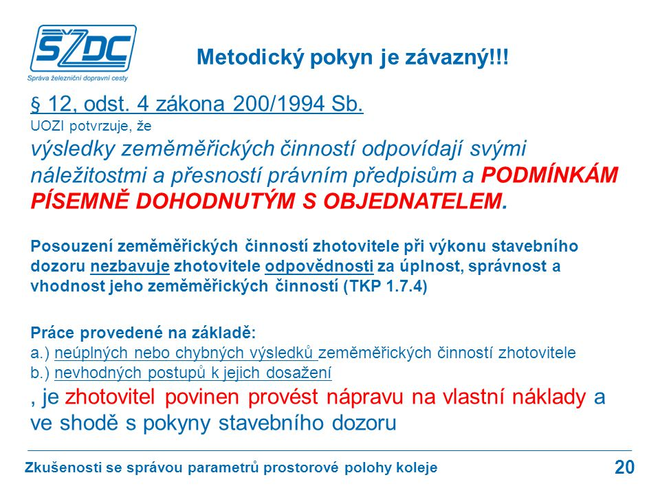 20 § 12, odst. 4 zákona 200/1994 Sb. UOZI potvrzuje, že výsledky zeměměřických činností odpovídají svými náležitostmi a přesností právním předpisům a