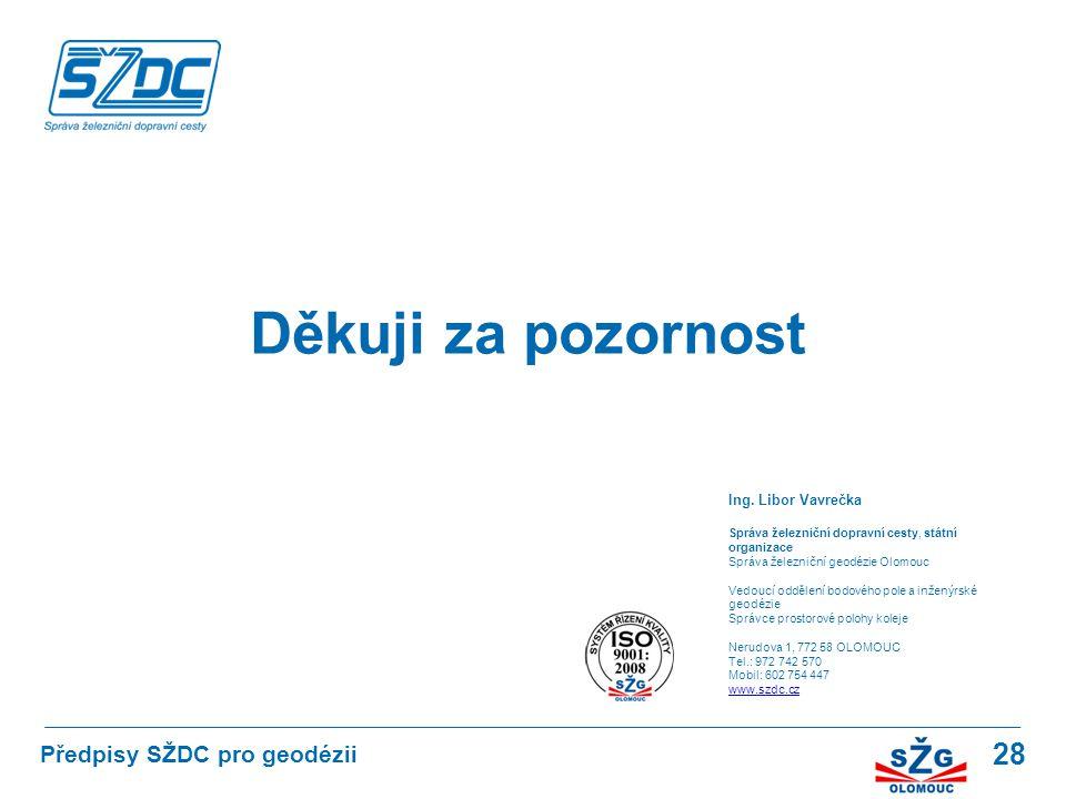 28 Děkuji za pozornost Ing. Libor Vavrečka Správa železniční dopravní cesty, státní organizace Správa železniční geodézie Olomouc Vedoucí oddělení bod