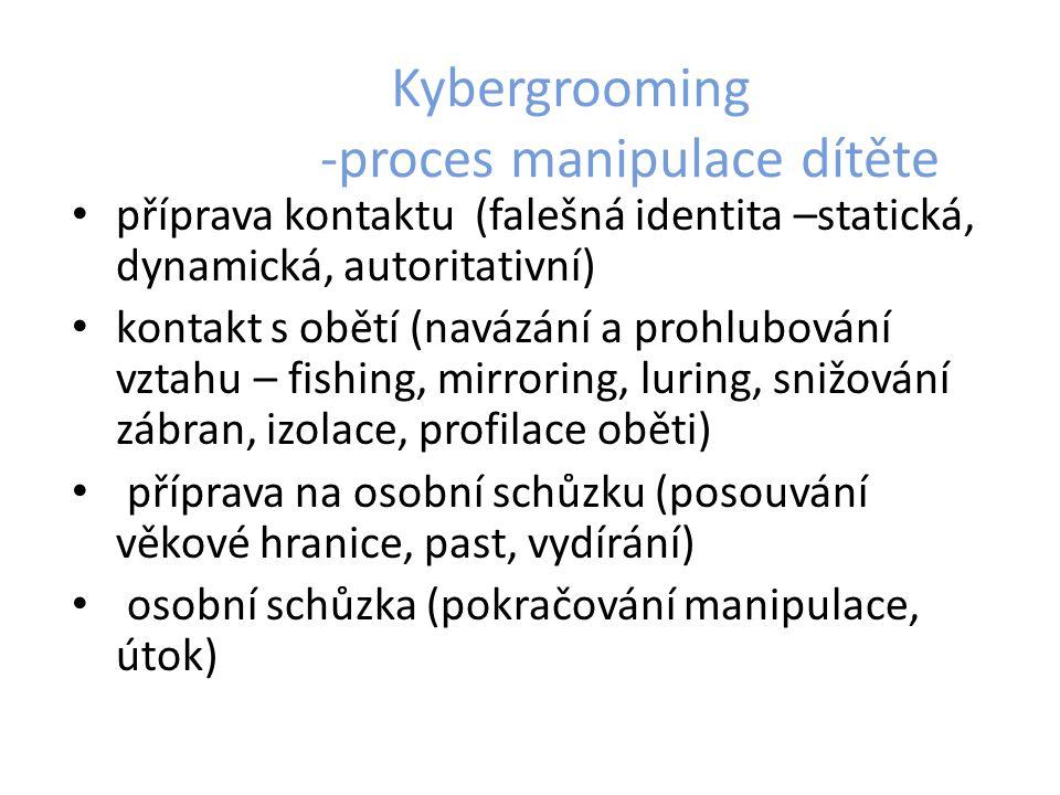Kybergrooming -proces manipulace dítěte příprava kontaktu (falešná identita –statická, dynamická, autoritativní) kontakt s obětí (navázání a prohlubov