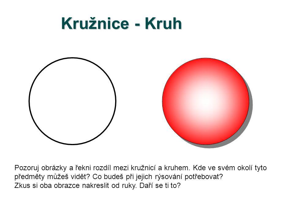 Kružnice Popis kružnice: S je střed kružnice k r je poloměr kružnice k d je průměr kružnice k C je bod, který kružnici k náleží E je bod, který kružnici k nenáleží d d = 2.