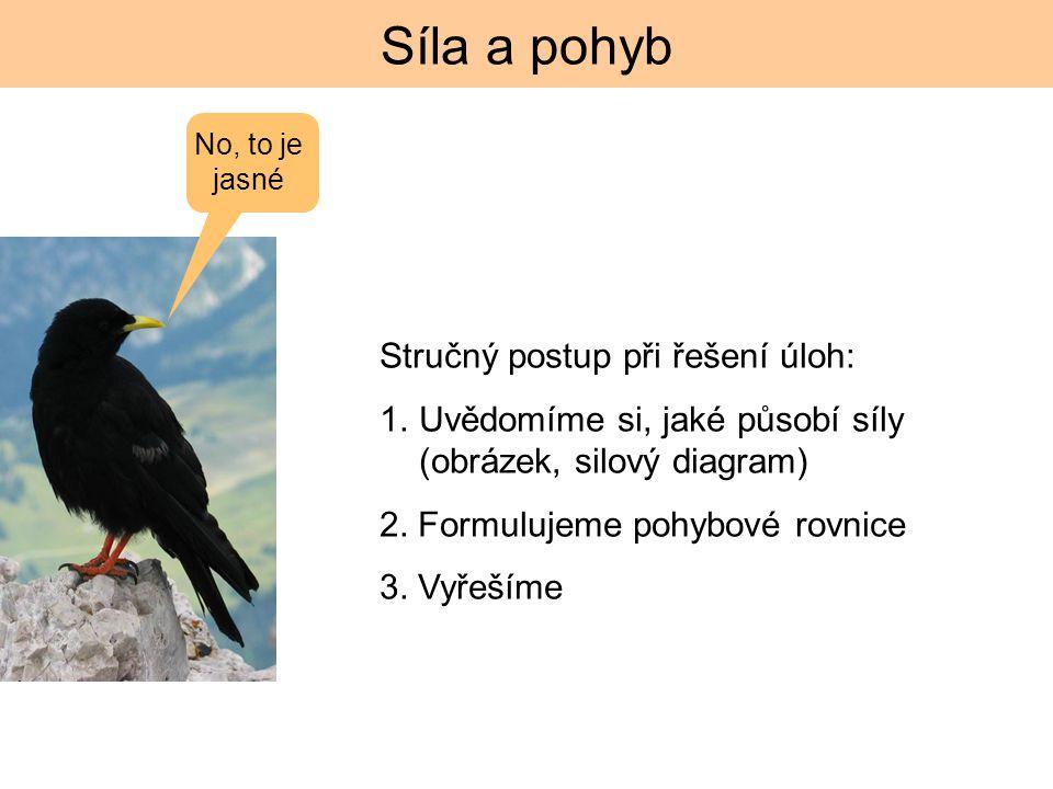 Síla a pohyb Stručný postup při řešení úloh: 1.Uvědomíme si, jaké působí síly (obrázek, silový diagram) 2.