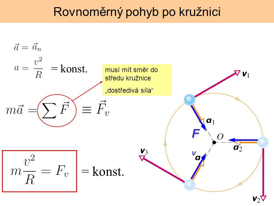 """Rovnoměrný pohyb po kružnici musí mít směr do středu kružnice """"dostředivá síla FvFv = konst."""