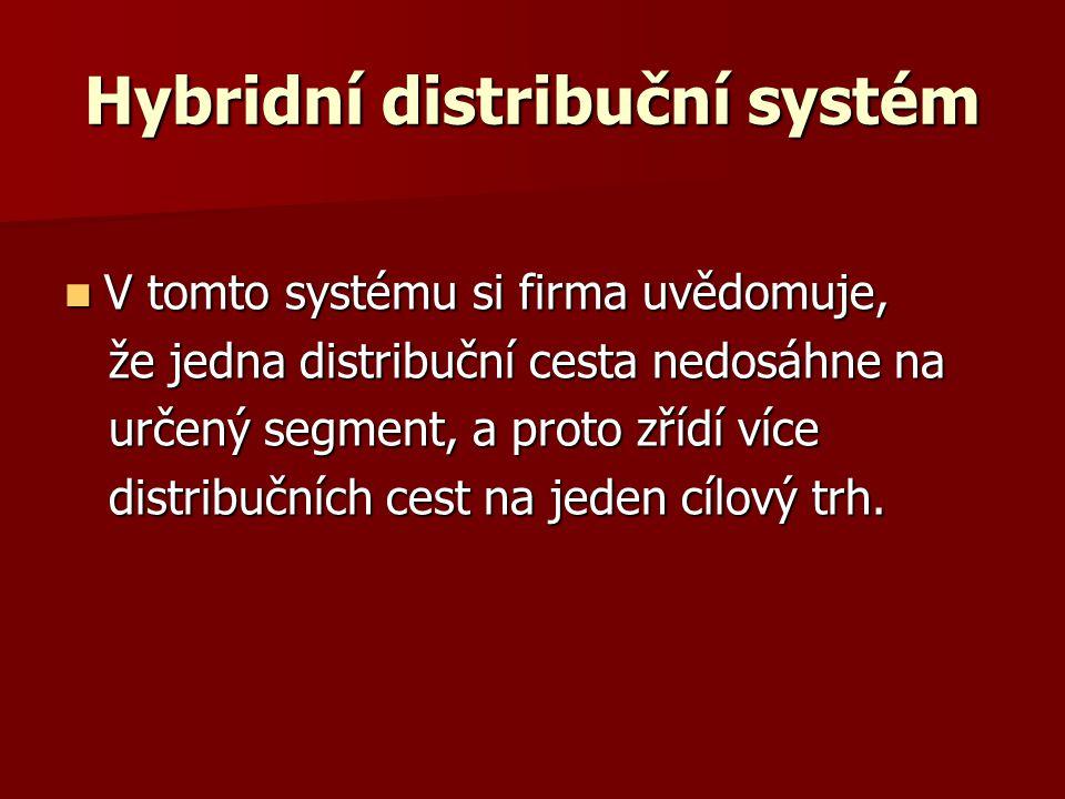 Hybridní distribuční systém V tomto systému si firma uvědomuje, V tomto systému si firma uvědomuje, že jedna distribuční cesta nedosáhne na že jedna distribuční cesta nedosáhne na určený segment, a proto zřídí více určený segment, a proto zřídí více distribučních cest na jeden cílový trh.