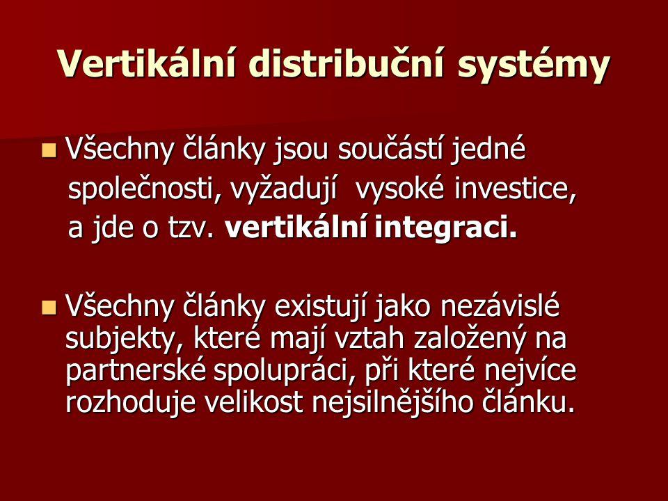 Vertikální distribuční systémy Všechny články jsou součástí jedné Všechny články jsou součástí jedné společnosti, vyžadují vysoké investice, společnos