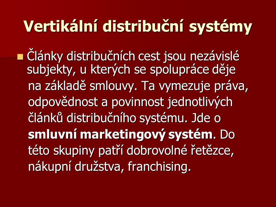 Vertikální distribuční systémy Články distribučních cest jsou nezávislé subjekty, u kterých se spolupráce děje Články distribučních cest jsou nezávislé subjekty, u kterých se spolupráce děje na základě smlouvy.