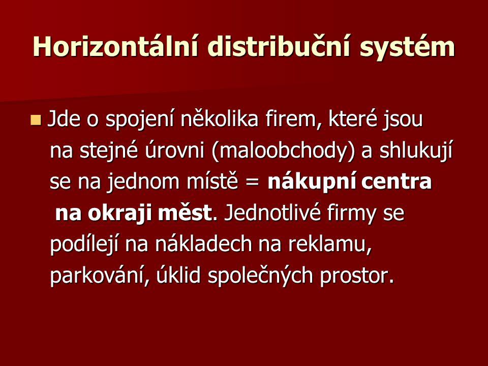 Horizontální distribuční systém Jde o spojení několika firem, které jsou Jde o spojení několika firem, které jsou na stejné úrovni (maloobchody) a shlukují na stejné úrovni (maloobchody) a shlukují se na jednom místě = nákupní centra se na jednom místě = nákupní centra na okraji měst.