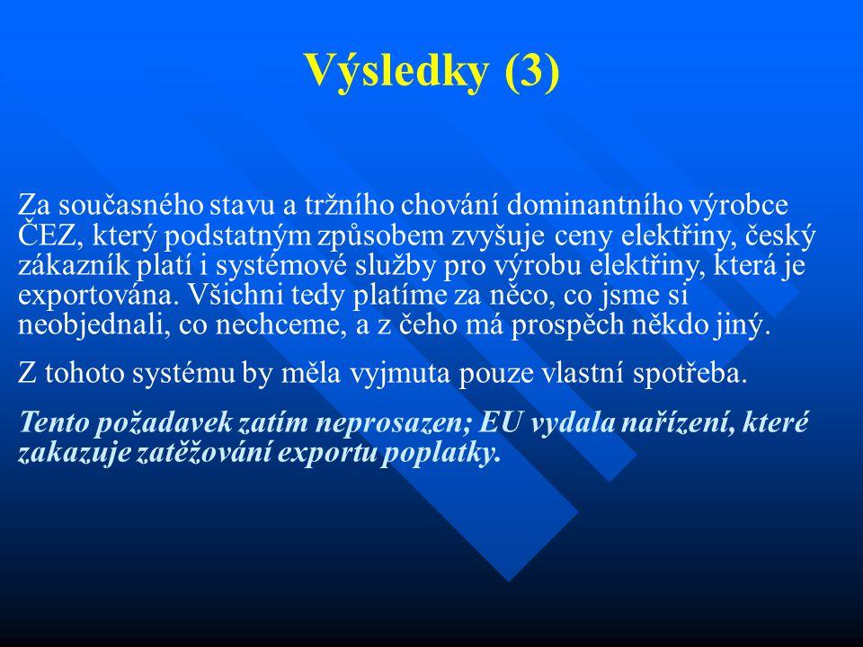 Výsledky (3) Za současného stavu a tržního chování dominantního výrobce ČEZ, který podstatným způsobem zvyšuje ceny elektřiny, český zákazník platí i