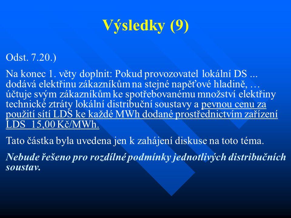 Výsledky (9) Odst. 7.20.) Na konec 1. věty doplnit: Pokud provozovatel lokální DS... dodává elektřinu zákazníkům na stejné napěťové hladině, … účtuje