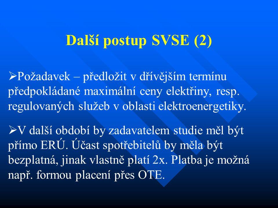 Další postup SVSE (2)   Požadavek – předložit v dřívějším termínu předpokládané maximální ceny elektřiny, resp. regulovaných služeb v oblasti elektr