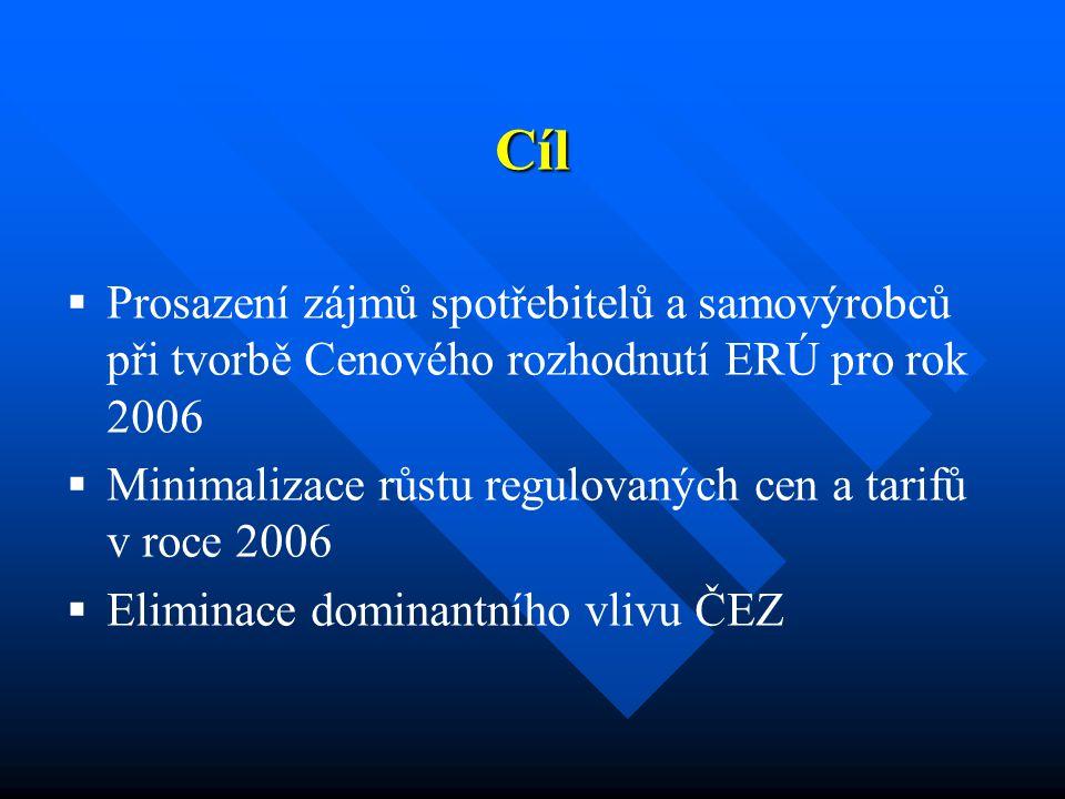 Cíl   Prosazení zájmů spotřebitelů a samovýrobců při tvorbě Cenového rozhodnutí ERÚ pro rok 2006   Minimalizace růstu regulovaných cen a tarifů v