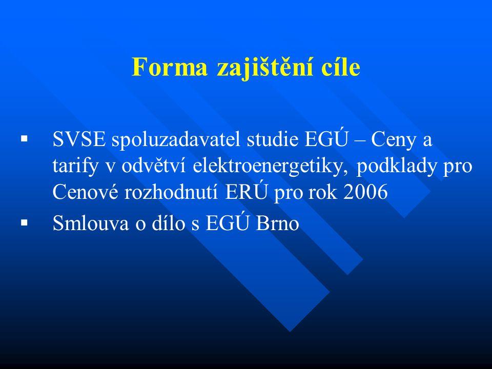 Forma zajištění cíle   SVSE spoluzadavatel studie EGÚ – Ceny a tarify v odvětví elektroenergetiky, podklady pro Cenové rozhodnutí ERÚ pro rok 2006 