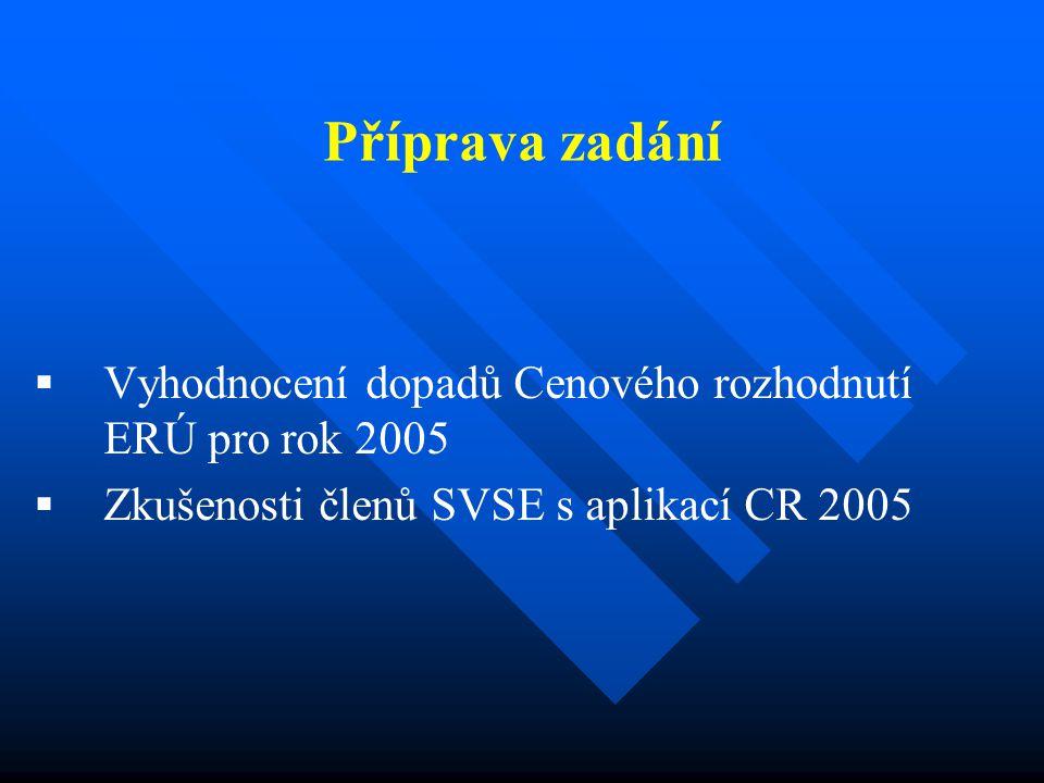 Příprava zadání   Vyhodnocení dopadů Cenového rozhodnutí ERÚ pro rok 2005   Zkušenosti členů SVSE s aplikací CR 2005