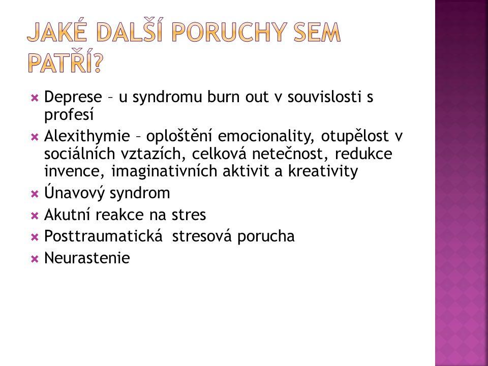  Deprese – u syndromu burn out v souvislosti s profesí  Alexithymie – oploštění emocionality, otupělost v sociálních vztazích, celková netečnost, re