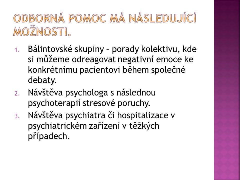1. Bálintovské skupiny – porady kolektivu, kde si můžeme odreagovat negativní emoce ke konkrétnímu pacientovi během společné debaty. 2. Návštěva psych