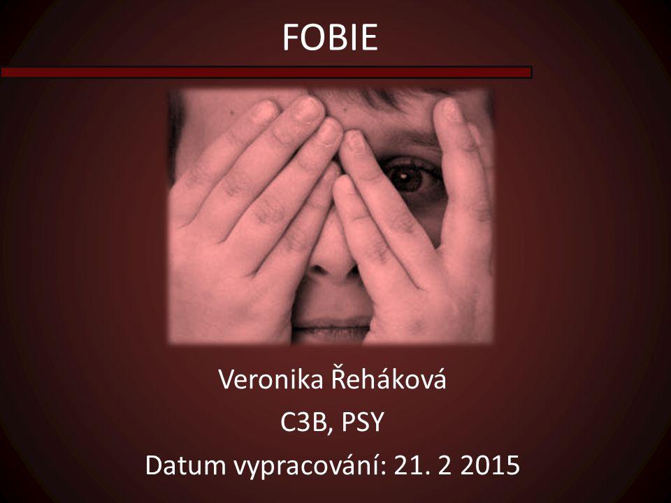 FOBIE Veronika Řeháková C3B, PSY Datum vypracování: 21. 2 2015
