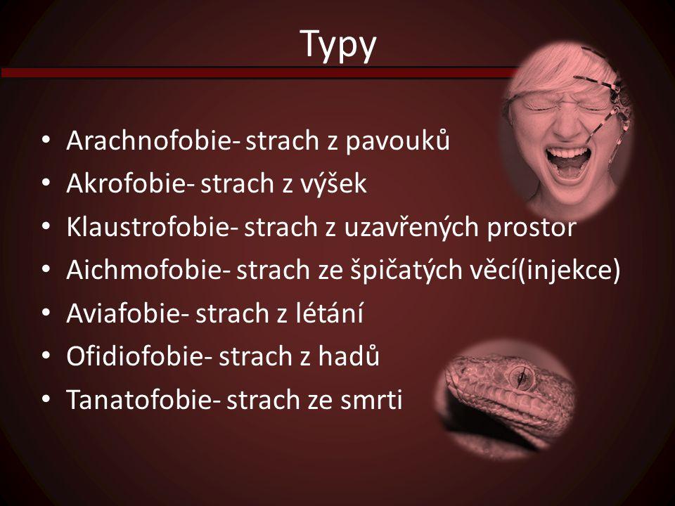 Typy Arachnofobie- strach z pavouků Akrofobie- strach z výšek Klaustrofobie- strach z uzavřených prostor Aichmofobie- strach ze špičatých věcí(injekce