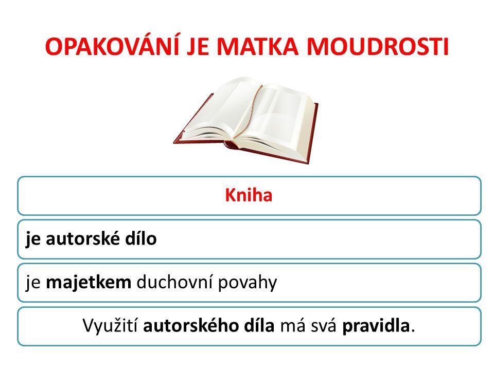 OPAKOVÁNÍ JE MATKA MOUDROSTI Knihaje autorské díloje majetkem duchovní povahyVyužití autorského díla má svá pravidla.