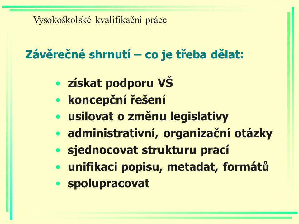 Závěrečné shrnutí – co je třeba dělat: získat podporu VŠ koncepční řešení usilovat o změnu legislativy administrativní, organizační otázky sjednocovat