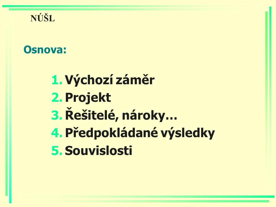 Osnova: 1.Výchozí záměr 2.Projekt 3.Řešitelé, nároky… 4.Předpokládané výsledky 5.Souvislosti NÚŠL
