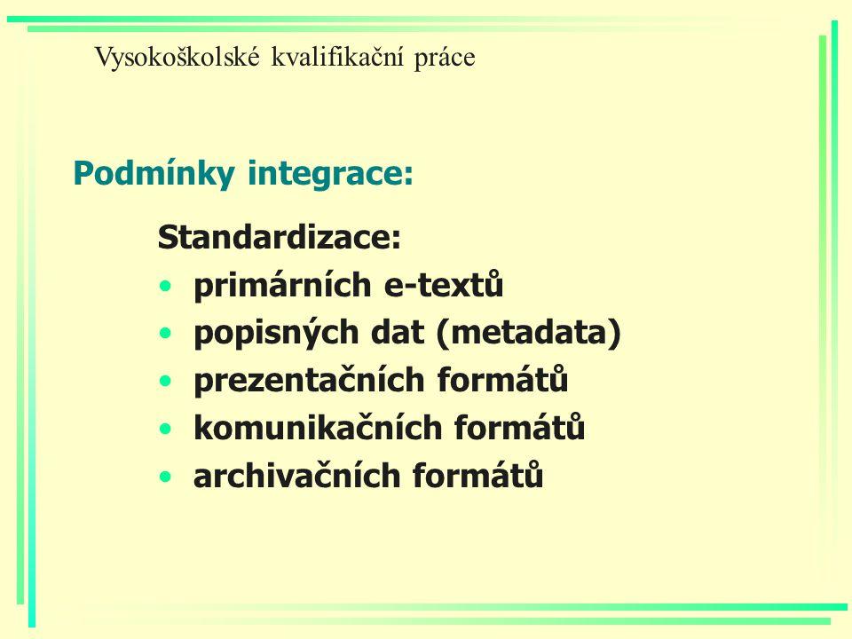 Podmínky integrace: Standardizace: primárních e-textů popisných dat (metadata) prezentačních formátů komunikačních formátů archivačních formátů Vysoko