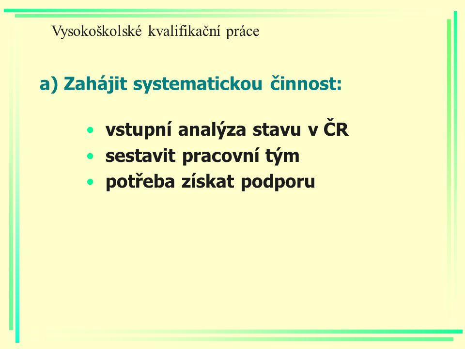 a) Zahájit systematickou činnost: vstupní analýza stavu v ČR sestavit pracovní tým potřeba získat podporu Vysokoškolské kvalifikační práce