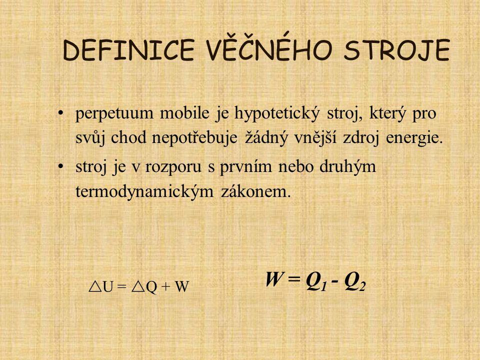 DEFINICE VĚČNÉHO STROJE perpetuum mobile je hypotetický stroj, který pro svůj chod nepotřebuje žádný vnější zdroj energie. stroj je v rozporu s prvním