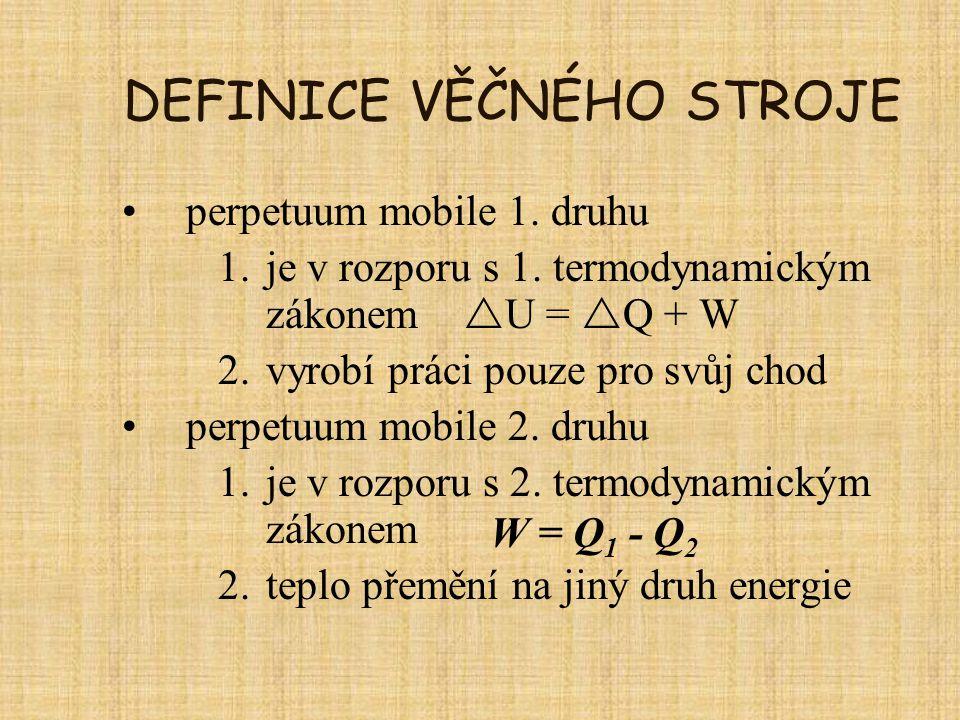 DEFINICE VĚČNÉHO STROJE perpetuum mobile 1. druhu 1.je v rozporu s 1. termodynamickým zákonem  U =  Q + W 2.vyrobí práci pouze pro svůj chod perpetu