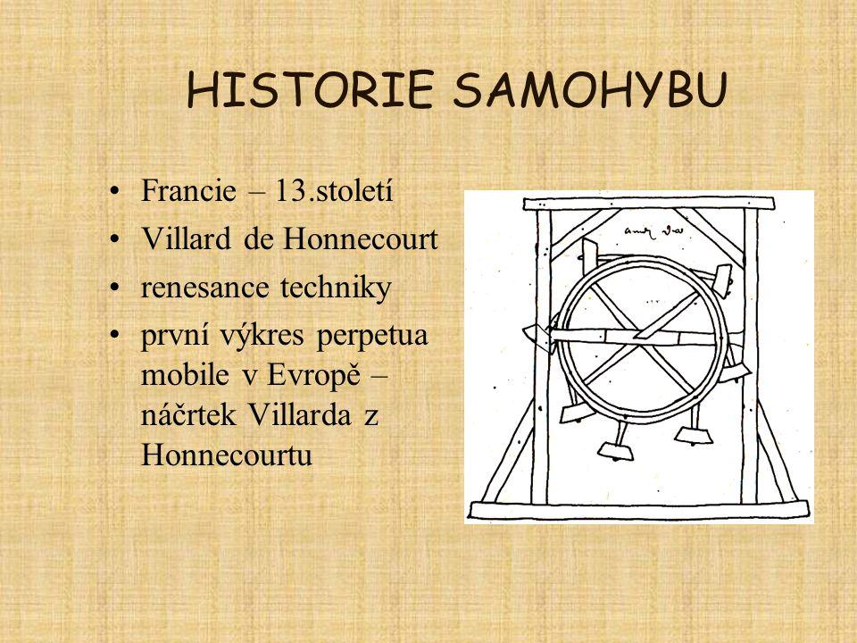 HISTORIE SAMOHYBU Francie – 13.století Villard de Honnecourt renesance techniky první výkres perpetua mobile v Evropě – náčrtek Villarda z Honnecourtu