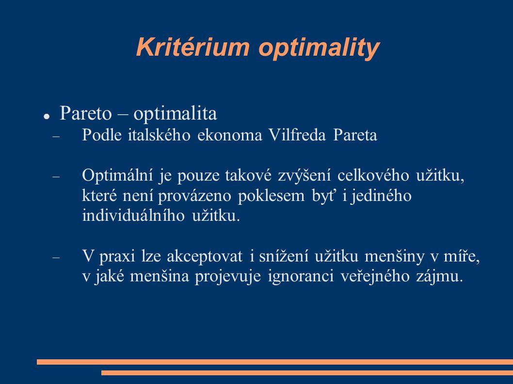 Kritérium optimality Pareto – optimalita  Podle italského ekonoma Vilfreda Pareta  Optimální je pouze takové zvýšení celkového užitku, které není provázeno poklesem byť i jediného individuálního užitku.
