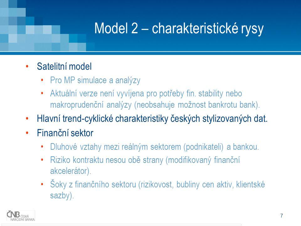 8 Model 2 - využití Porovnání s modelem bez finančního sektoru Identifikace fundamentálního vývoje ekonomických veličin (filtrace) a prognózy jsou podobné.