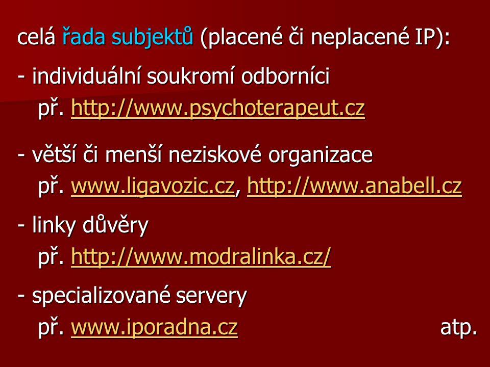 celá řada subjektů (placené či neplacené IP): - individuální soukromí odborníci př.