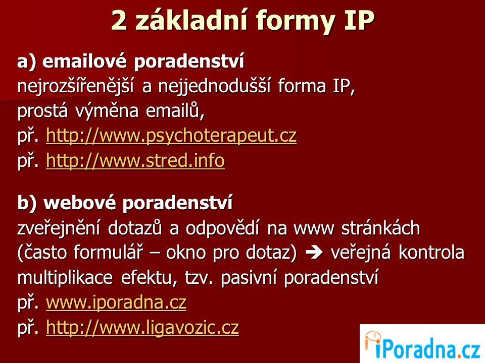 2 základní formy IP a) emailové poradenství nejrozšířenější a nejjednodušší forma IP, prostá výměna emailů, př.