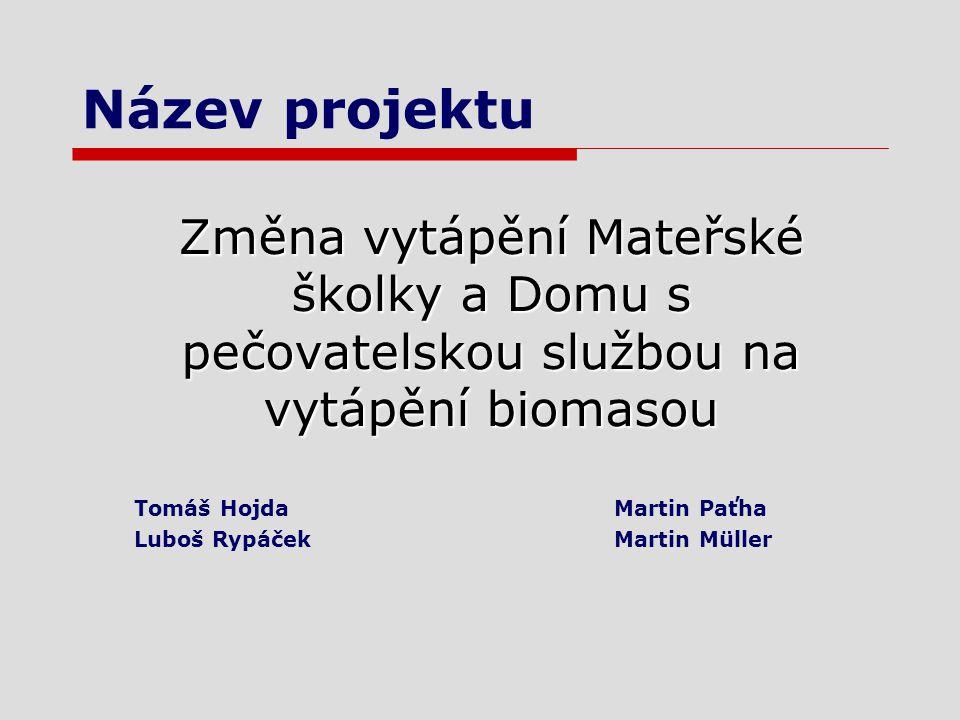 Název projektu Změna vytápění Mateřské školky a Domu s pečovatelskou službou na vytápění biomasou Tomáš HojdaMartin Paťha Luboš RypáčekMartin Müller
