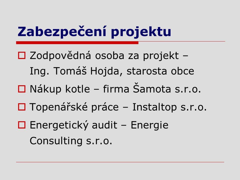 Zabezpečení projektu  Zodpovědná osoba za projekt – Ing.
