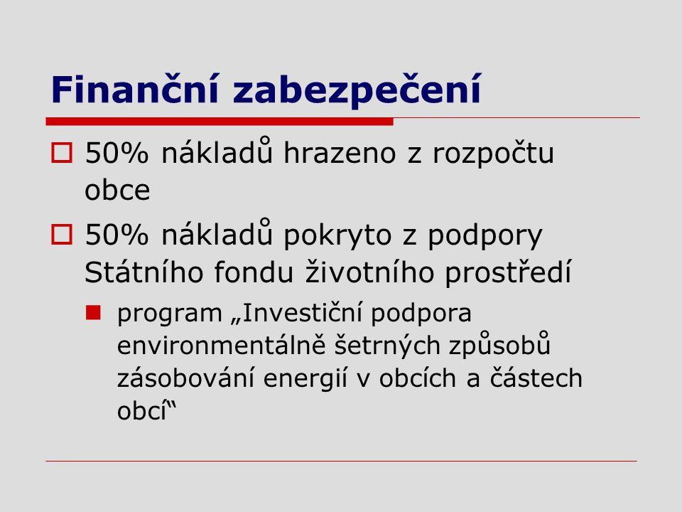 """Finanční zabezpečení  50% nákladů hrazeno z rozpočtu obce  50% nákladů pokryto z podpory Státního fondu životního prostředí program """"Investiční podpora environmentálně šetrných způsobů zásobování energií v obcích a částech obcí"""