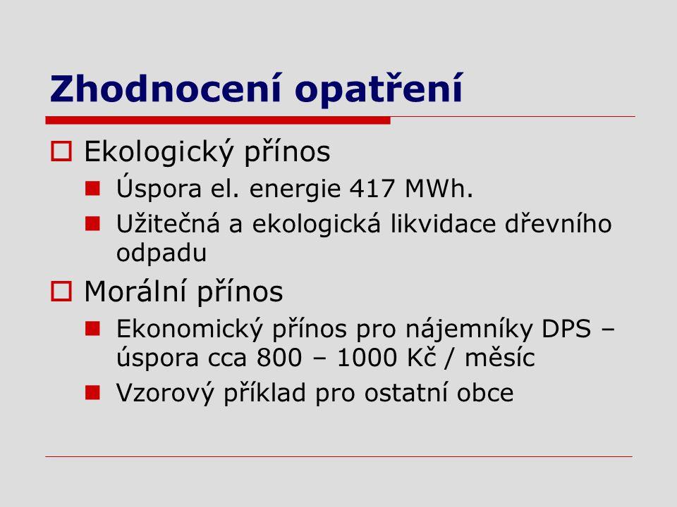 Zhodnocení opatření  Ekologický přínos Úspora el.