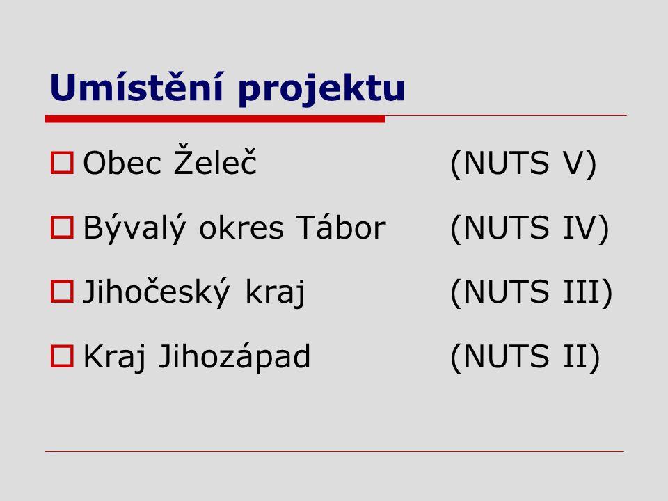 Umístění projektu  Obec Želeč (NUTS V)  Bývalý okres Tábor (NUTS IV)  Jihočeský kraj (NUTS III)  Kraj Jihozápad (NUTS II)