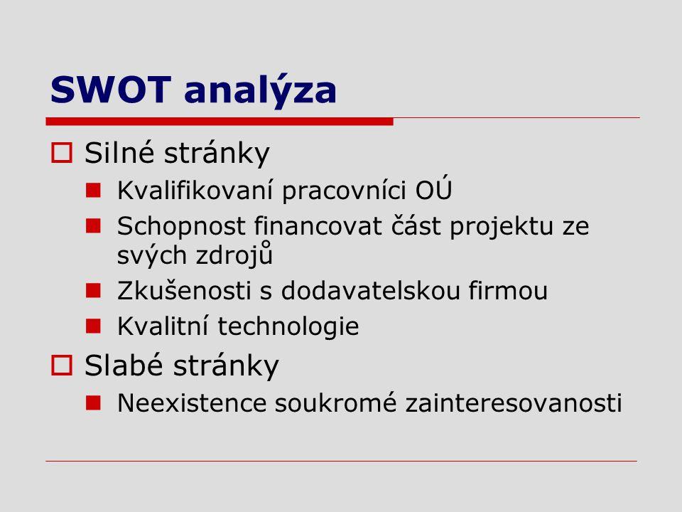 SWOT analýza  Silné stránky Kvalifikovaní pracovníci OÚ Schopnost financovat část projektu ze svých zdrojů Zkušenosti s dodavatelskou firmou Kvalitní technologie  Slabé stránky Neexistence soukromé zainteresovanosti