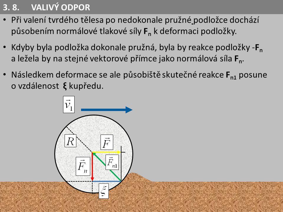Při valení tvrdého tělesa po nedokonale pružné podložce dochází působením normálové tlakové síly F n k deformaci podložky.