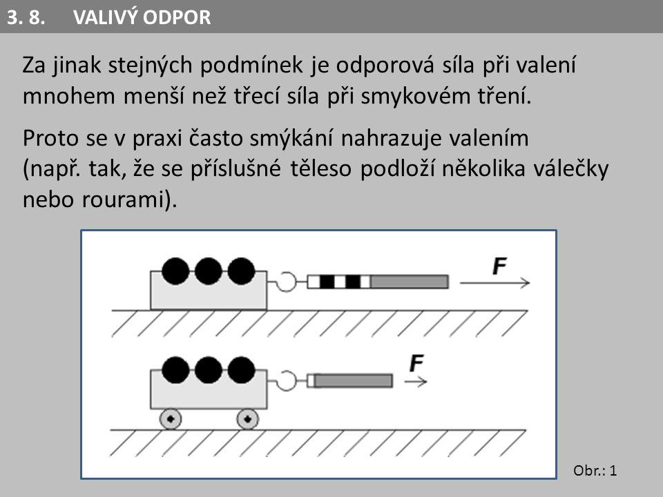 Za jinak stejných podmínek je odporová síla při valení mnohem menší než třecí síla při smykovém tření.