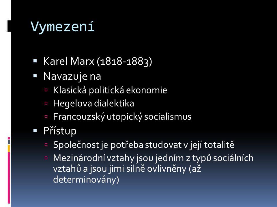 Vymezení  Karel Marx (1818-1883)  Navazuje na  Klasická politická ekonomie  Hegelova dialektika  Francouzský utopický socialismus  Přístup  Společnost je potřeba studovat v její totalitě  Mezinárodní vztahy jsou jedním z typů sociálních vztahů a jsou jimi silně ovlivněny (až determinovány)