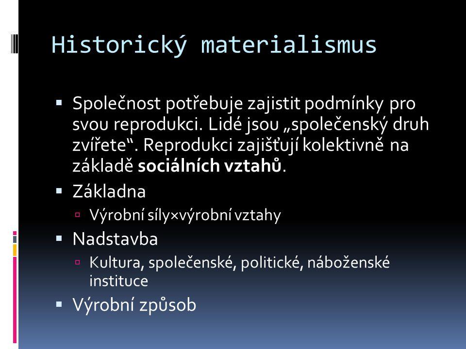 Historický materialismus  Společnost potřebuje zajistit podmínky pro svou reprodukci.