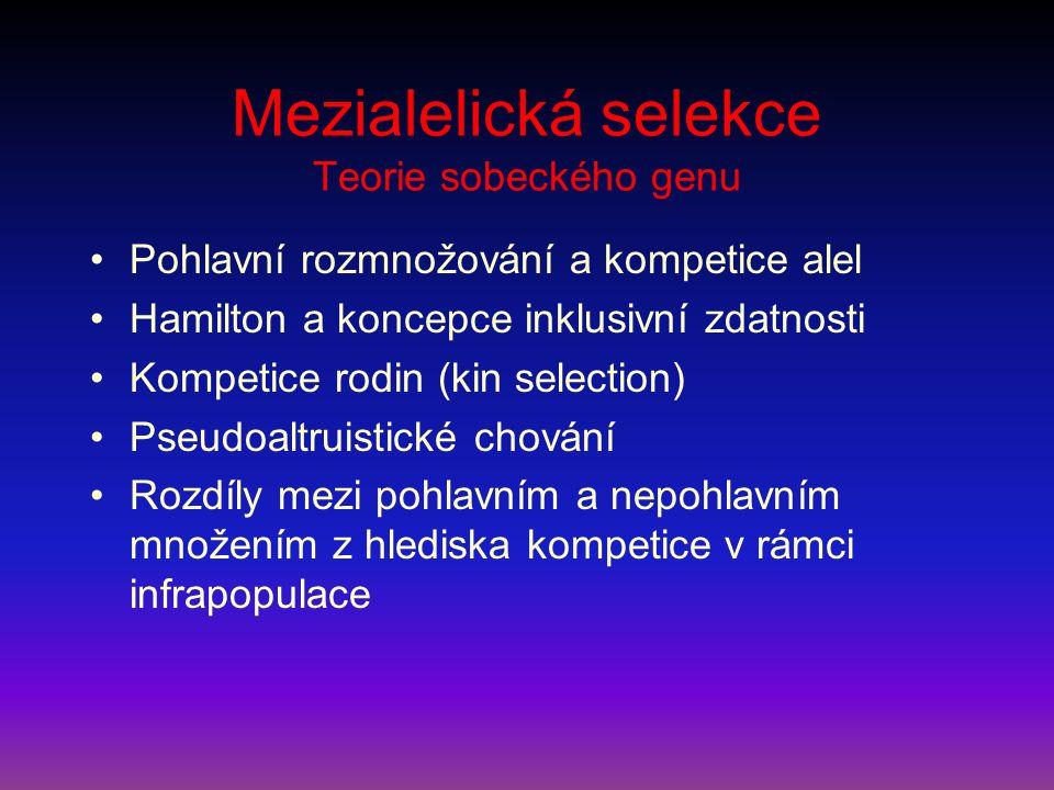 Mezialelická selekce Teorie sobeckého genu Pohlavní rozmnožování a kompetice alel Hamilton a koncepce inklusivní zdatnosti Kompetice rodin (kin select