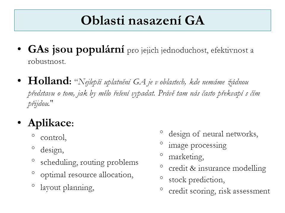 Oblasti nasazení GA GAs jsou populární pro jejich jednoduchost, efektivnost a robustnost.