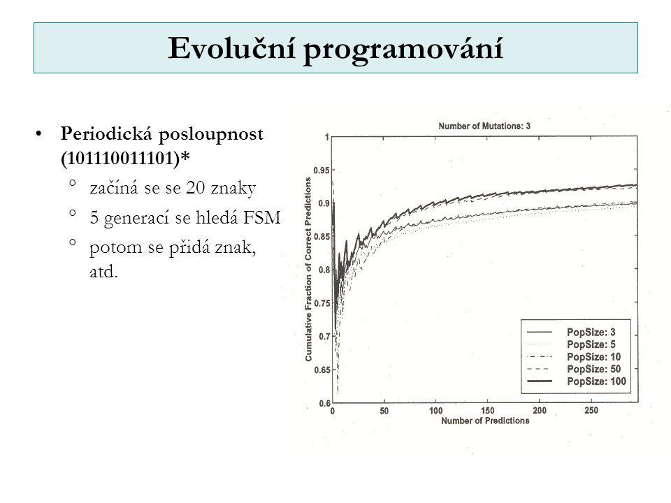 Evoluční programování Periodická posloupnost (101110011101)*  začíná se se 20 znaky  5 generací se hledá FSM  potom se přidá znak, atd.