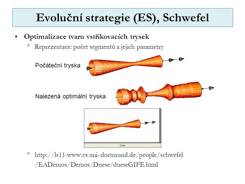 Evoluční strategie (ES), Schwefel Optimalizace tvaru vstřikovacích trysek  Reprezentace: počet segmentů a jejich parametry  http://ls11-www.cs.uni- dortmund.de/people/schwefel /EADemos/Demos/Duese/dueseGIFE.html Počáteční tryska Nalezená optimální tryska