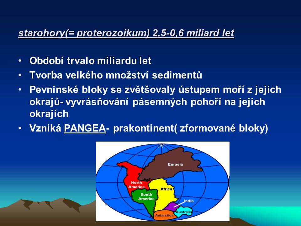 starohory Pangeu obklopoval oceán Panthalassa Assyntské vrásnění- zasáhlo okraje Pangey Klima značně proměnlivé střídání sucha, tepla, zalednění Organismy- činností sinic se zvyšoval obsah kyslíku v atmosféře, redukční atmosféra se mění na kyslíkatou vznikají eukaryotní org.