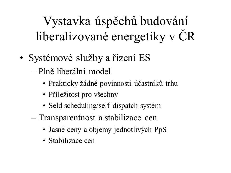 Vystavka úspěchů budování liberalizované energetiky v ČR Systémové služby a řízení ES –Plně liberální model Prakticky žádné povinnosti účastníků trhu